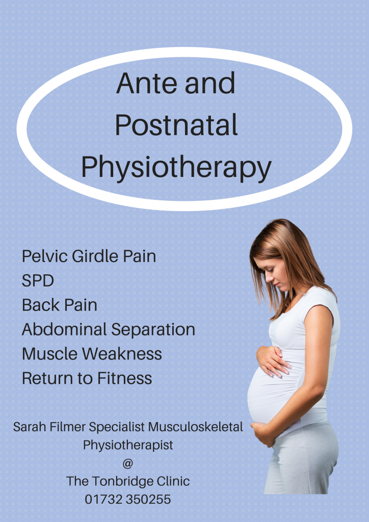 Pregnancy pain pelvic ante post natal tonbridge kent physiotherapist